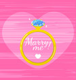 marry me card design ring with a large diamond vector image vector image