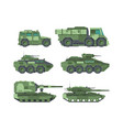 military cars types flat set vector image