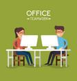 office teamwork people using computer vector image