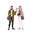 portrait cute smiling male and female vector image vector image