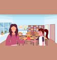 schoolgirl giving apple to woman teacher education vector image