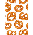 seamless pattern with various cartoon pretzels vector image vector image