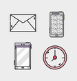 set business icons app message vector image