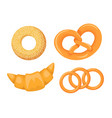 set icons different types bread bagel vector image