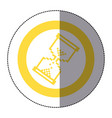 sticker yellow circular frame with pixel hourglass vector image vector image
