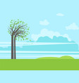 trees green grass and sky vector image vector image