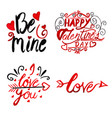 watercolor valentine typography collection vector image vector image