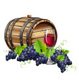wine barrel with glass and fresh grapes vector image vector image