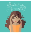 Woman Tired at Work Deadline A Lot of Work to Do vector image vector image