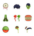 zombie constructor icons set cartoon style vector image