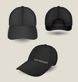 black caps mockup in front side and back views vector image