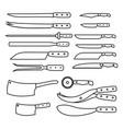 butchery equipment big set outline butcher shop vector image