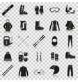 equipment for winter sports silhouette icons with