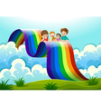 A family above the rainbow vector image vector image