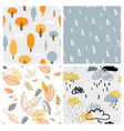 autumn seasonal seamless retro style pattern set vector image vector image