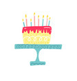 birthday cake with candle and heart happy vector image vector image