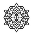 black silhouette of a snowflake lace round vector image vector image
