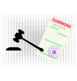 blank court summons and a court hammer black vector image vector image