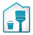 brush and bucket sign for painting vector image vector image