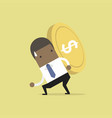 businessman carrying gold coin on his back vector image vector image
