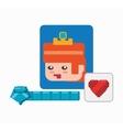 character girl game heart life vector image