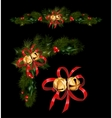 Christmas decorations with fir tree and decorative vector image vector image