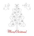 Christmas tree and angels vector image vector image