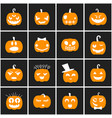 collection of halloween icons pumpkins vector image