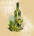 colored hand drawing wine still life vector image vector image