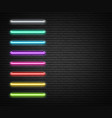 colorful neon luminous strips on grey realistic vector image
