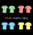 colorful t-shirts templates front and behind on a vector image