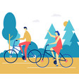 couple cycling - flat design style colorful vector image