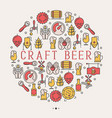 craft beer concept with thin line icons in circle vector image vector image