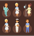 doctor nurse character medical woman staff vector image vector image