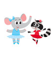 elephant and raccoon puppy and kitten characters vector image vector image