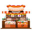 fast food cafe interior with chef standing behind vector image vector image