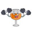 fitness cognac ballon glass character cartoon vector image