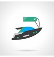 Flat color motor boat with tag icon vector image