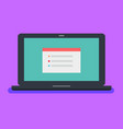 flat laptop with red tab site on blue screen vector image