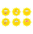 funny yellow sun character collection - 1 vector image vector image