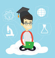graduate sitting on cloud vector image vector image