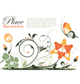 grunge floral frame with butterfly element for des vector image vector image