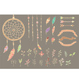 Hand drawn native american feathers dream catcher