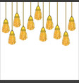 hanging down heavy silk tassels with gold fittings vector image