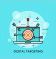 laptop with shooting target with arrows on screen vector image vector image
