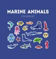 marine animals stickers set cute underwater sea vector image vector image