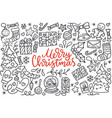 merry christmas poster with greetings lettering vector image vector image