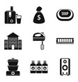 music system icons set simple style vector image vector image