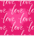 pink heart and love inscription seamless vector image