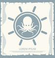 retro handwheel and octopus emblem vector image vector image